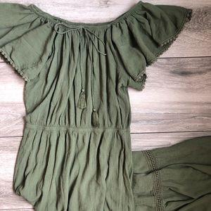 Olive Green Off the Shoulder Hi Lo Dress EUC